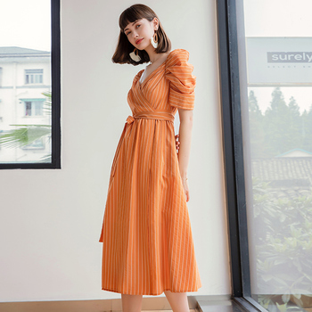 YIGELILA Fashion Women Striped Long Dress Elegant V-neck Puff Sleeve Belt Empire Slim Mid-length 65924