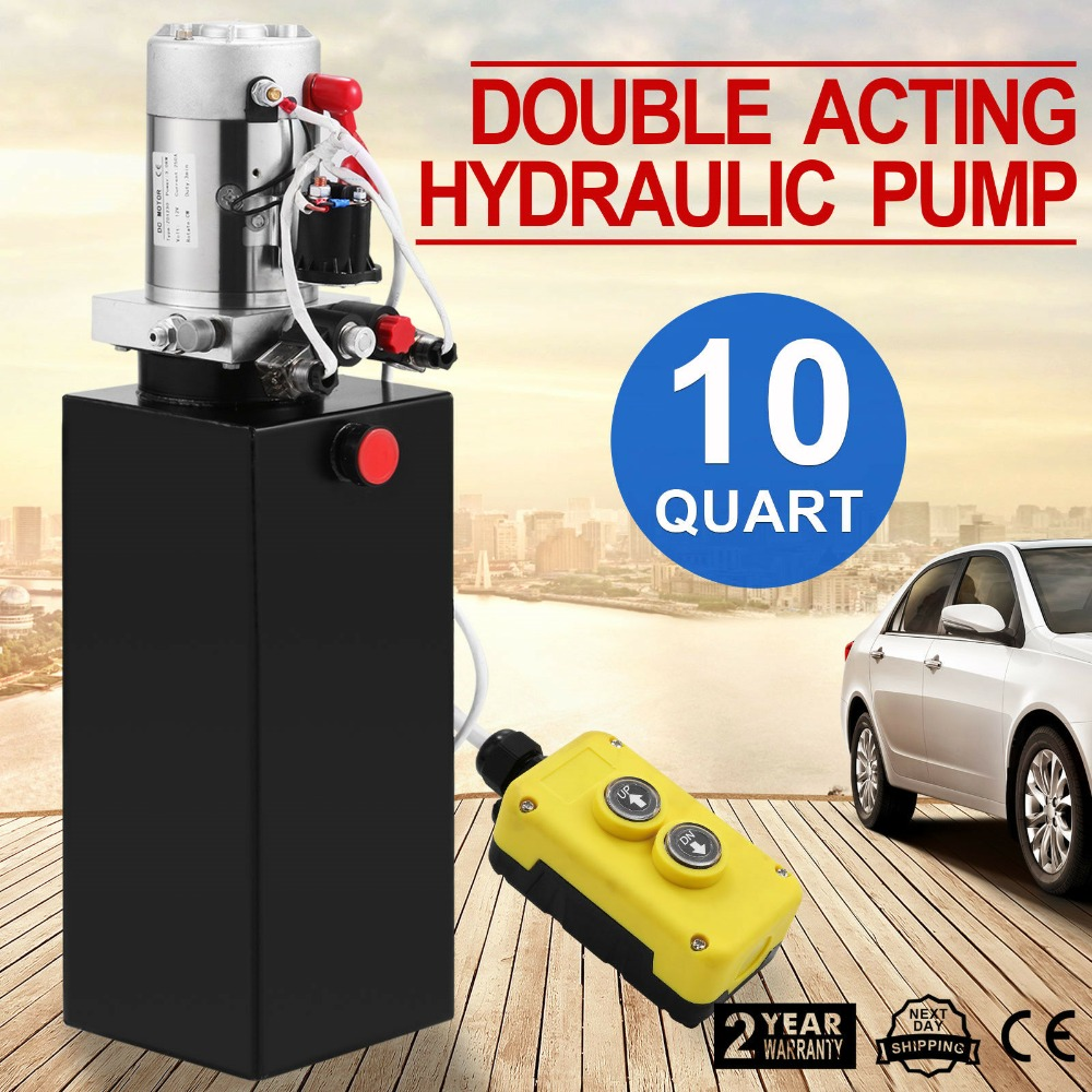 12V 8-Quart High Flow Power Up Grav Down Hydraulic Pump Power Unit Dump Trailer