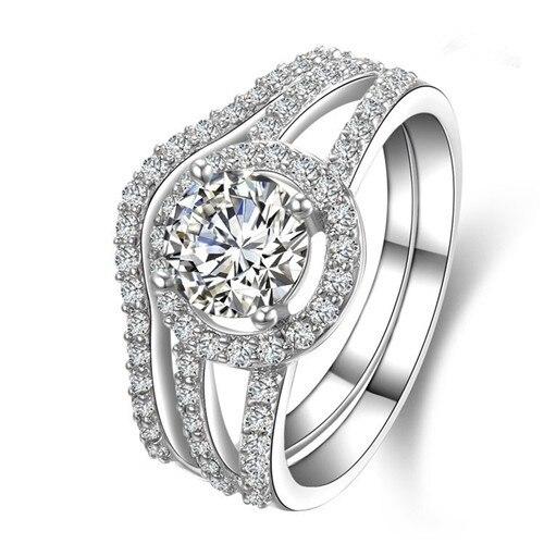 TRS009 2 carats NSCD simulé gemme bagues de fiançailles pour les femmes, bagues