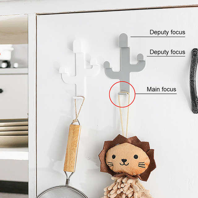 Home Kitchen Towel Bags Keys Hanger Hooks Wall Door Seamless Cactus Shaped Hooks Household Products
