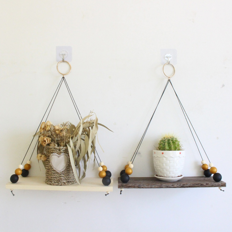 Wall Hanging Shelf Wood Rope Swing Shelves Baby Kids Room Storage Holder Decor@N