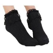 LJCUIYAO Lovely Cute White Ankle Socks Women Cotton Vintage Lace Ruffle Frilly Lady Princess Girl Sock Soft