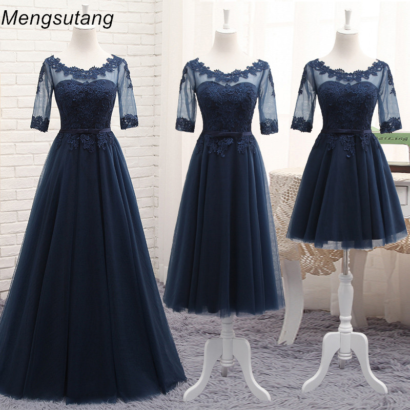 Robe De Soiree 2020 Wholesale Scoop Neck Half Transparent Lace Embroidery Long Navy Blue Party Prom Dress Bridesmaid Dresses