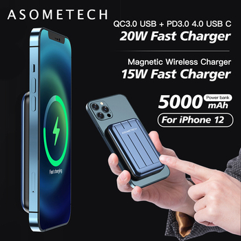 Power Bank 5000mAh 15W Magnetic QI Wireless Charger Powerbank PD USB C Quick Charge External Battery for iPhone 12 Pro Max Mini image