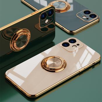 Miękki pokrowiec na pierścionek etui na iPhone 12 11 Pro Max 12 Mini XS Max XR X 7 8 Plus 12 Pro luksusowy odporny na wstrząsy stojak na okładkę Funda tanie i dobre opinie LITBOY APPLE CN (pochodzenie) Bumper Soft Plating Ring Holder Case Zwykły case for iphone 7 Plus case for iphone 8 Plus