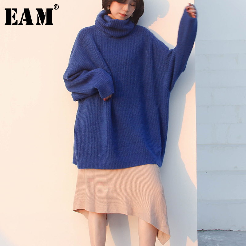 [EAM] Button Mesh Perspective Mesh Knitting Sweater Loose Fit V-Neck Long Sleeve Women New Fashion Tide Autumn Winter 2019 JZ066