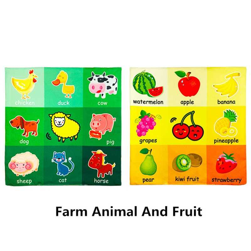Baby Toys 0-12 Months Newspaper Rattles Animal Fruit Soft Cloth Books Educational Toy For Children Stroller Bed Bell Newborn Toy