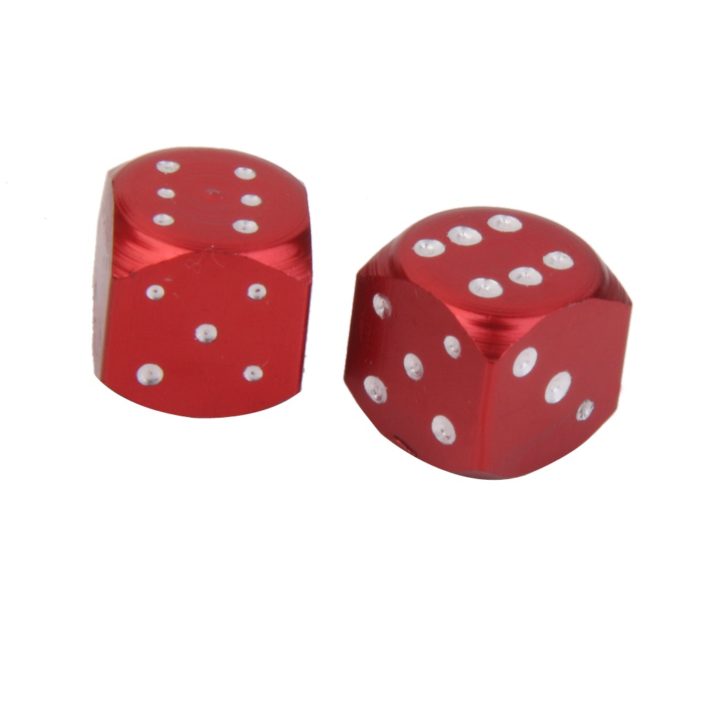 Red Dice Cube Tire/Wheel Stem Air Valve Caps Covers Car Truck ATV Motorcycle
