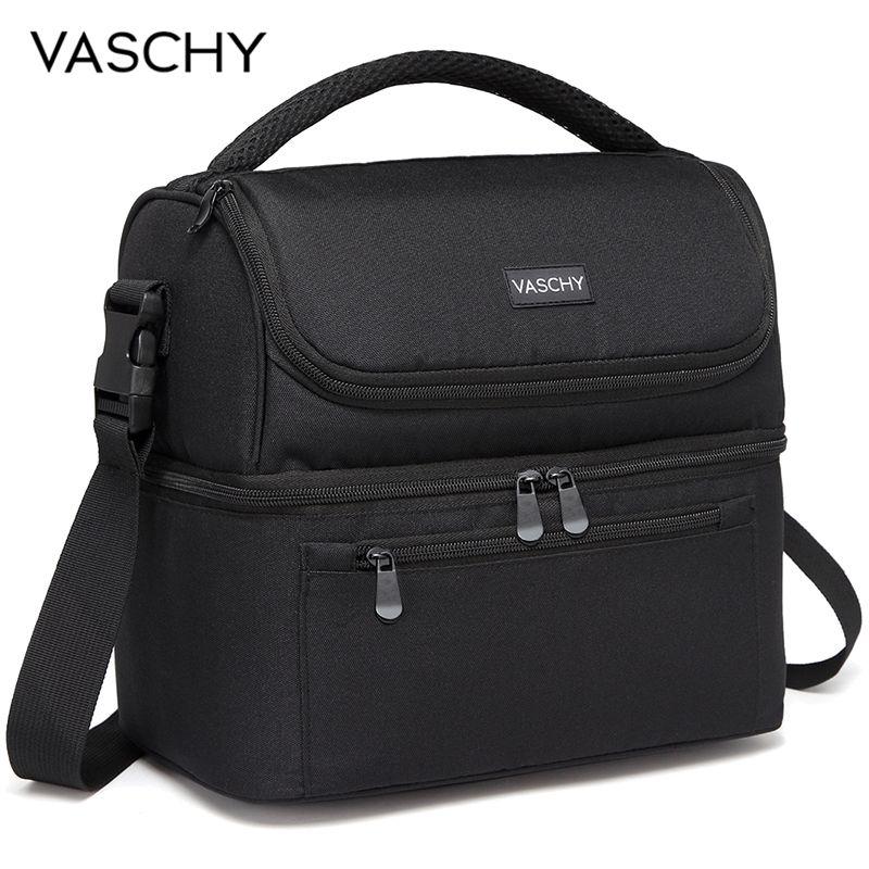 VASCHY изолированный Ланч-бокс герметичный кулер сумка в двойном Compart для мужчин t сумка для еды для мужчин женщин 14 банок винный охлаждающая сумка коробка