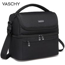 VASCHY yalıtımlı yemek kabı sızdırmaz soğutucu çanta çift bölmeli yemek taşıma çantası erkekler kadınlar için 14 kutular şarap çantası soğutucu kutu