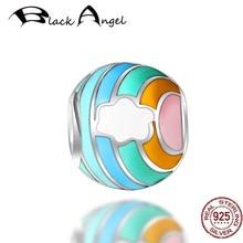 Original Design 925 Sterling Silver Cute Rainbow Beads Charm Fit Women Bracelet DIY Necklace Jewelry fashion women s matte 108 beads bracelet or necklace high quality charm new design bracelet