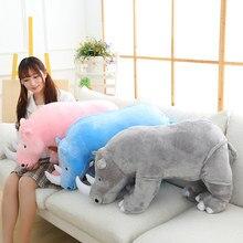 Novo 1 pçs 40cm/60cm/80cm bonito huggable brinquedo de pelúcia super macio rinoceronte animal boneca crianças dormir conforto brinquedo presente aniversário
