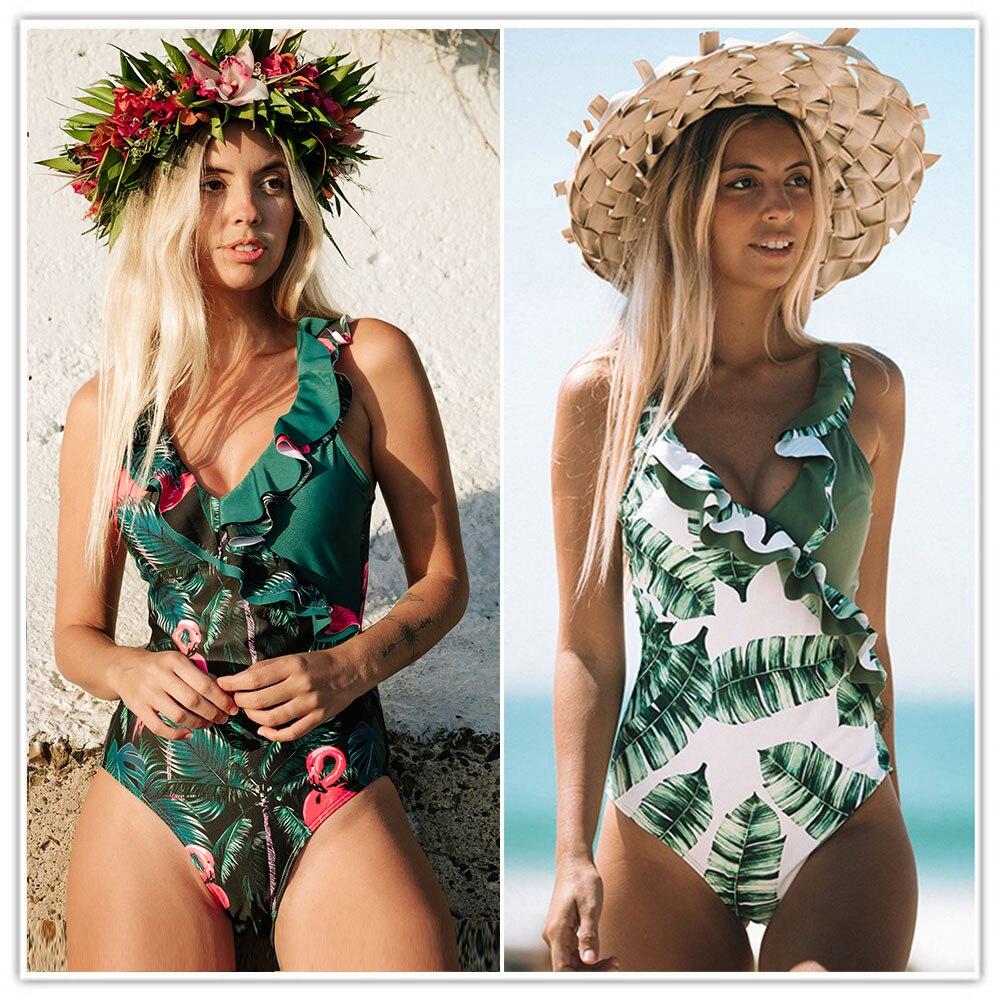 2020 сексуальный глубокий v образный цельный купальник женский винтажный Ретро купальный костюм с рюшами на плечах купальник с открытой спиной Монокини|Комбинезоны|   | АлиЭкспресс