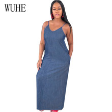 WUHE The Newest Fashion Wear Take Polyester Dresses Women Sleeveless Sexy Spaghetti Strap Denim Dress Summer Casual Femme