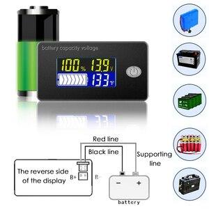 Indicador de capacidad de la batería de ácido de plomo, pantalla de 12V 24V 36V 48V, voltímetro LCD, medidor de temperatura, probador de batería de ácido de plomo