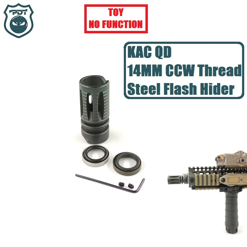 14MM CCW Thread Steel MK18 M4 KAC QD Flash Hider NO Function Muzzle Device For JInMing J9 Water Gel Ball Blaster AEG Airsoft