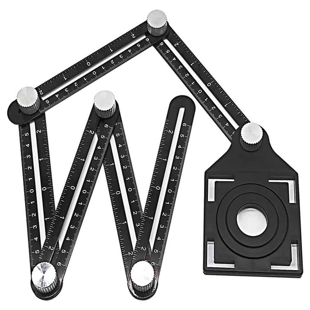 Adjustable Angle Ruler Drill Guide Folding Ruler Glass Tile Hole Locator Woodworking Gauge Measuring Tool Slide Ruler Protractor