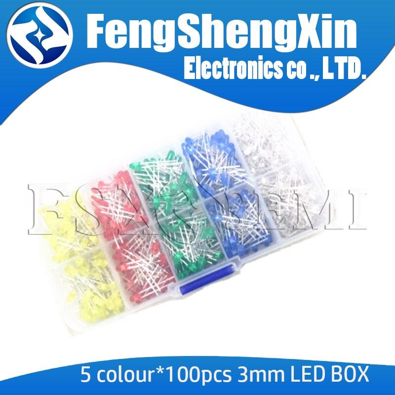 5 цветов * 100 шт = 500 шт 3 мм светодиодный набор диодов смешанных цветов F3 красный зеленый желтый синий белый + коробка
