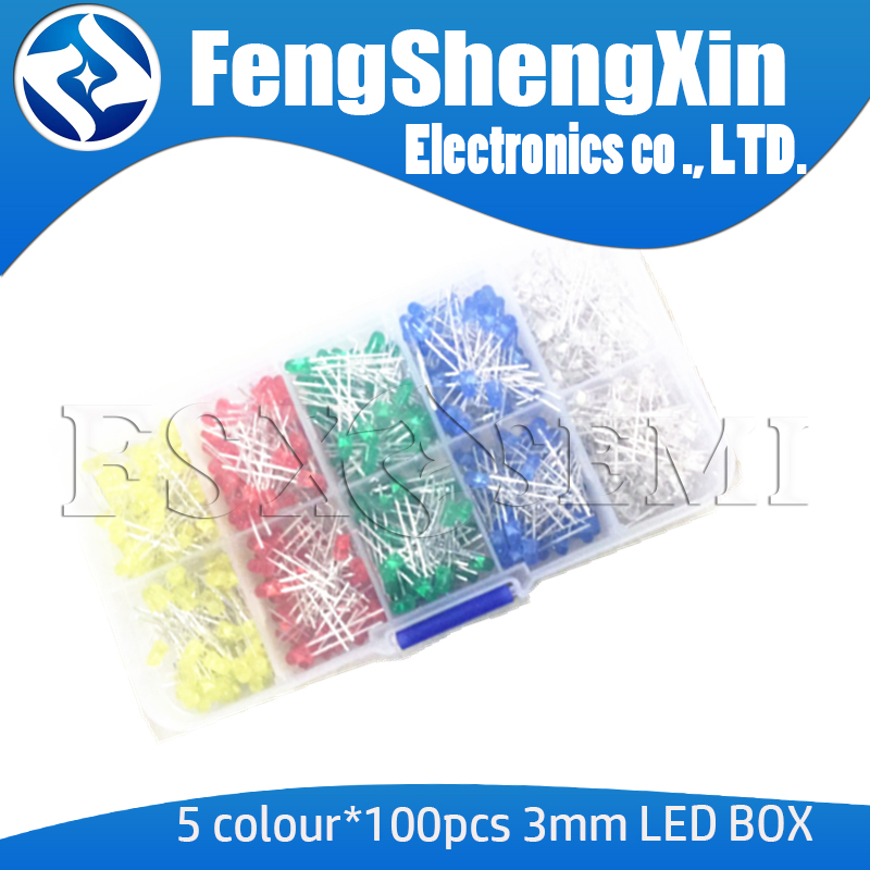 5 Colour*100pcs=500pcs 3MM LED Diode Kit Mixed Color F3 Red Green Yellow Blue White +BOX New