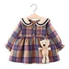 2021 frühling Kleinkind Mädchen Kleider Baby Mädchen Prinzessin Kleid Nette Lange Hülse Plaid Elegante Kleid 1st Geburtstag Party Prinzessin Kleid