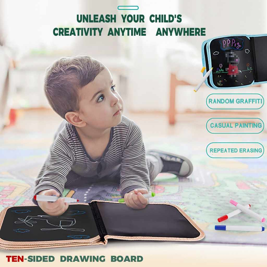 DIY tablero de dibujo portátil suave Graffiti borrable dibujo Animal Foto Libro escritura Pad niños escritura tablero niños regalos