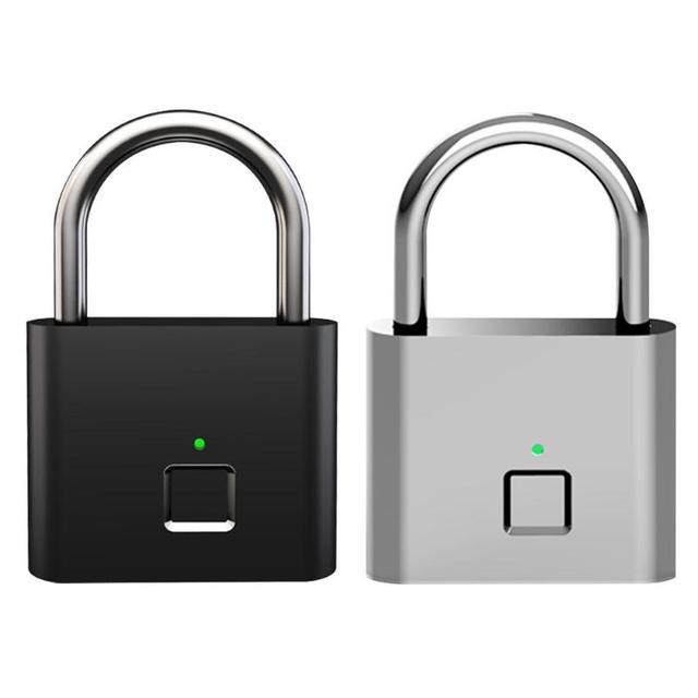 Smart Fingerprint Lock Keyless USB Rechargeable Padlock Anti-Theft Fingerprint Smart Lock for Bag Drawer Suitcase