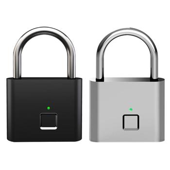 Smart Keyless USB Rechargeable Door Lock Fingerprint Padlock – Quick Unlock Zinc Alloy Metal