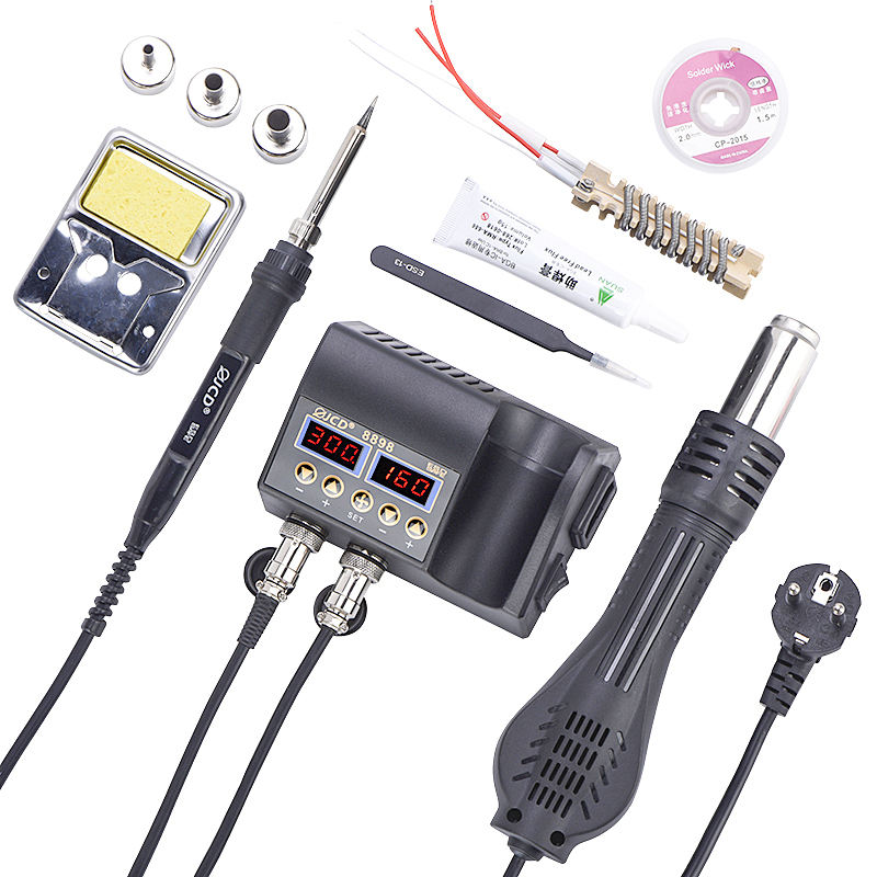 JCD LCD Heating Electronic Welding Station 2 in 1 Soldering Station for Rework Phone BGA SMD PCB IC Repair Solder Tools 8898