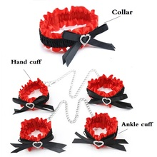 купить Erotic Goods BDSM Bondage Lace Bow Handcuffs Ankle Cuffs Elastic Wrist And Foot Cuffs Metal Sex Toys For Women Sexy Lingerie дешево