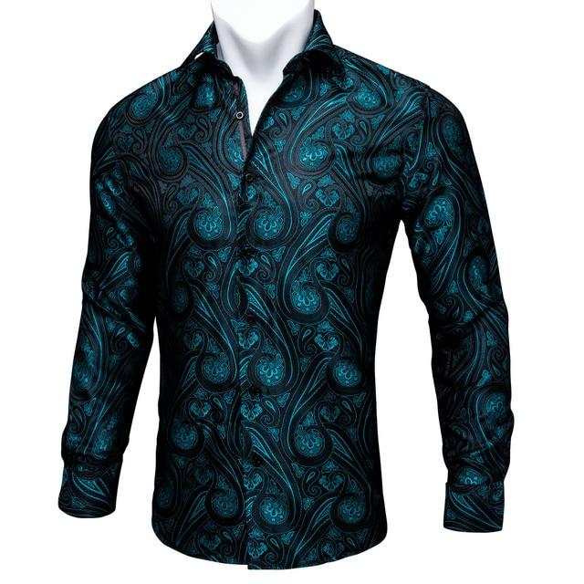 Barry.Wang 청록색 페이즐리 꽃 실크 셔츠 남자 가을 긴 소매 캐주얼 꽃 셔츠 디자이너 맞는 드레스 셔츠 BCY 05