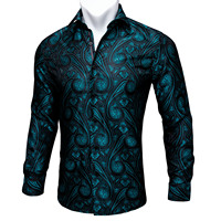 Barry.Wang Teal Paisley Floral Silk Shirts Men Autumn Long Sleeve Casual Flower Shirts For Men Designer Fit Dress Shirt BCY 05