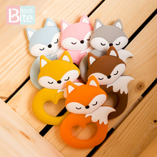 1/5pc Silicone Mini Fox Baby Pacifier Pendants Food Grade Silicone Bead Rodent Animal Baby Teether Tiny Rod Children's Goods Toy