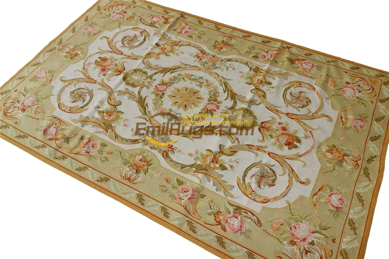 French Aubusson Carpets Point New Listing Square Natural