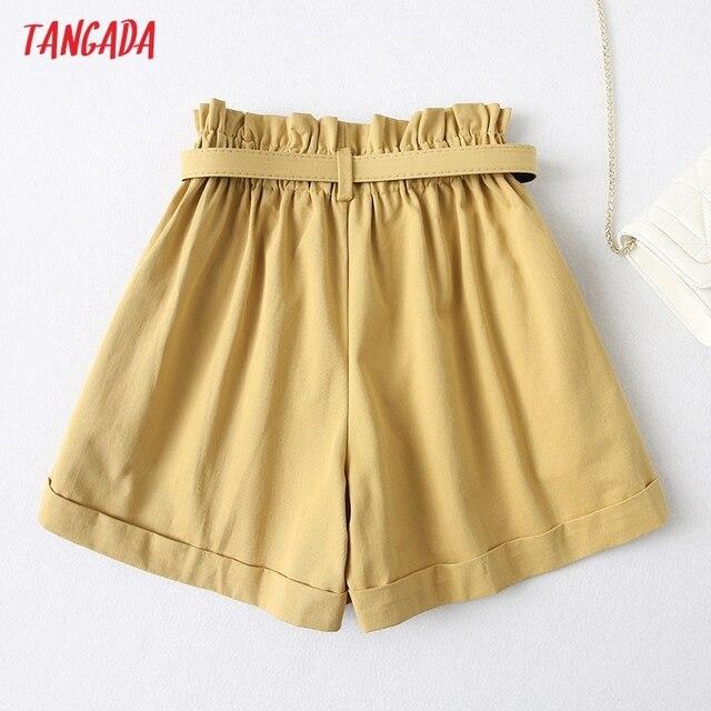 Tangada Women Elegant Solid High Waist Shorts with Belt Pockets Female Retro Basic Casual Shorts Pantalones YU24 5