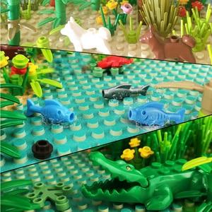 Image 5 - Rainforest Baseplate Parts Animal Green Grass Jungle Bush Flower Tree Plants Building Blocks DIY MOC Assemble Children Toy Gifts