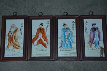 Antique porcelain brand painting,Four great ideological teachers in ancient China--KONGZI&LAOZI&MENGZI&ZHUANGZI, 4 pieces/pack, image