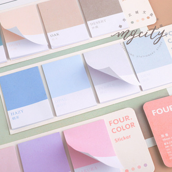 80sheets/pack Four Color Sticky Notes Index Memo Pad Bookmarks Cute Scheduler Paper Stickers Kids Stationery 1