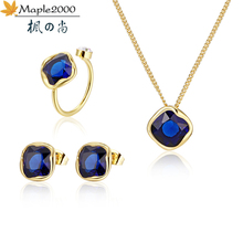 blue red crystal jewelry set pendant necklace earrings for women  rings wedding jewelry set fashion crystal necklace jewelry set wedding bridal pearl jewelry set women fashion crystal leaf pendant necklace earrings set