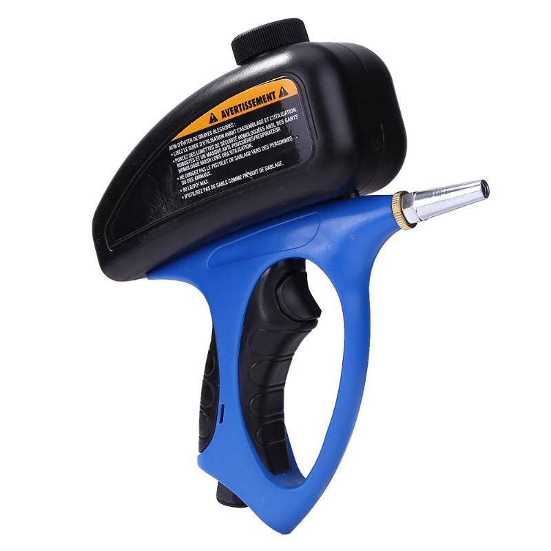 Portable Gravity Sandblasting Gun Pneumatic Adjustable Sand Blasting Flow Replaceable Nozzle Handheld Cleaning Blasting Device