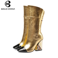 BONJOMARISA New Runway Show Leather mid-calf Boots Ladies Luxury Brand Women 2019 High Heels Shoes Woman 33-43