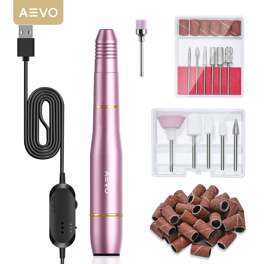 AEVO Electric Nail Drill Set for Manicure Filer Sander Polisher Manicure Machine Nail Drill Equipment Tools 20000RPM USB Plug