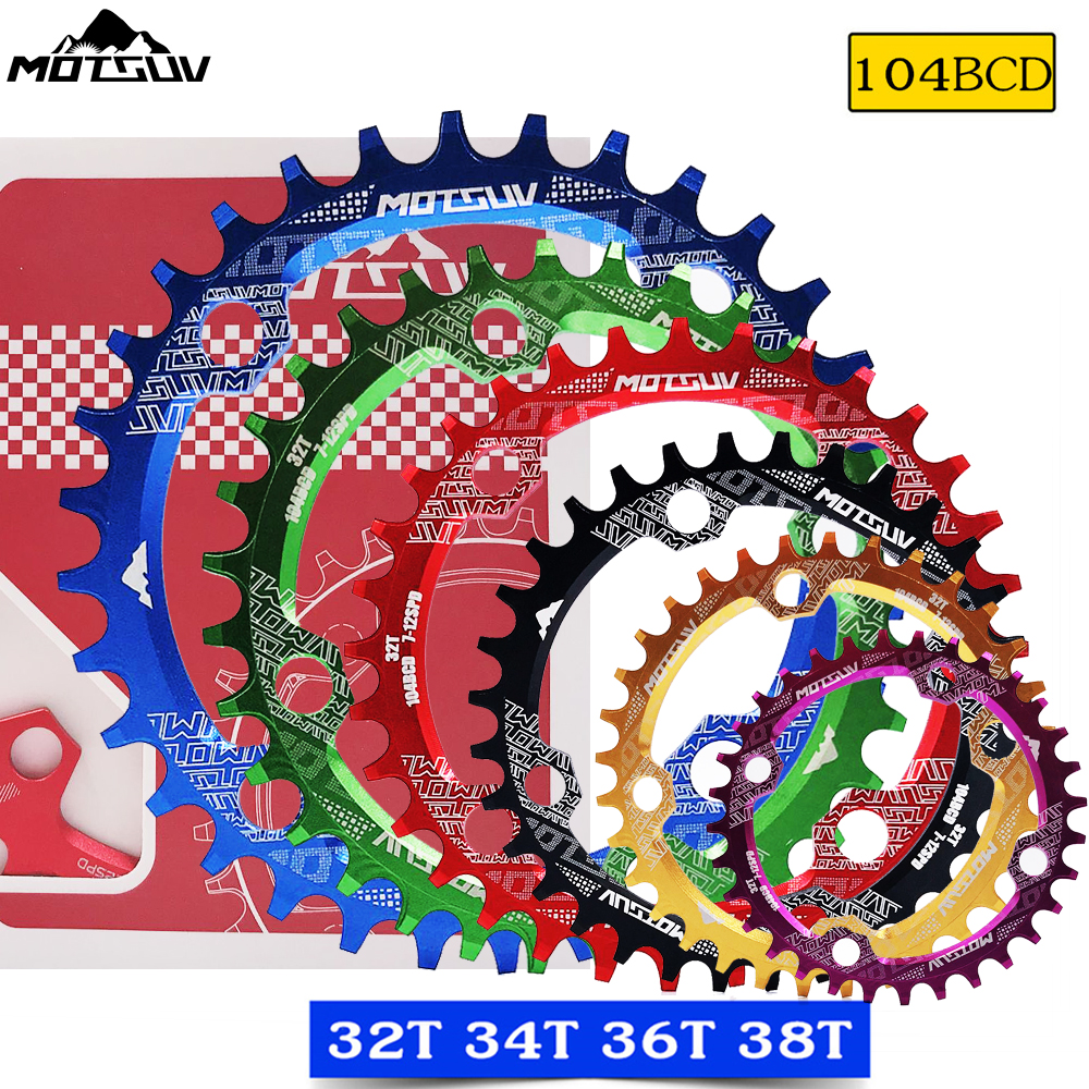 Bicycle crank 104bcd round narrow chainring 32T/34T/36T/38T MTB crank disc Bicycle parts sprocket disc crank veneer