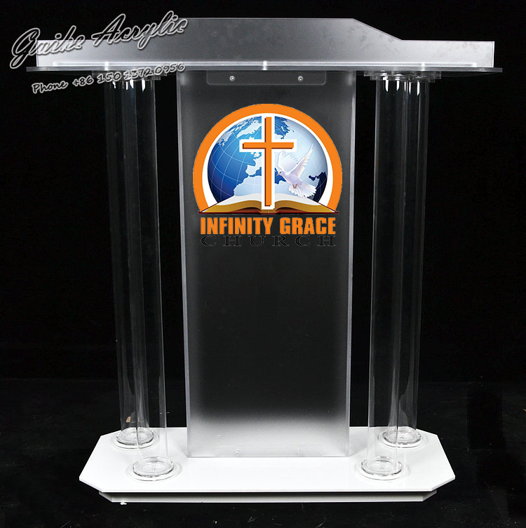 Frosted And Transparent Church Pulpit Accepts Customized Logo Service With 4 Cylindrical Acrylic Round Tubes