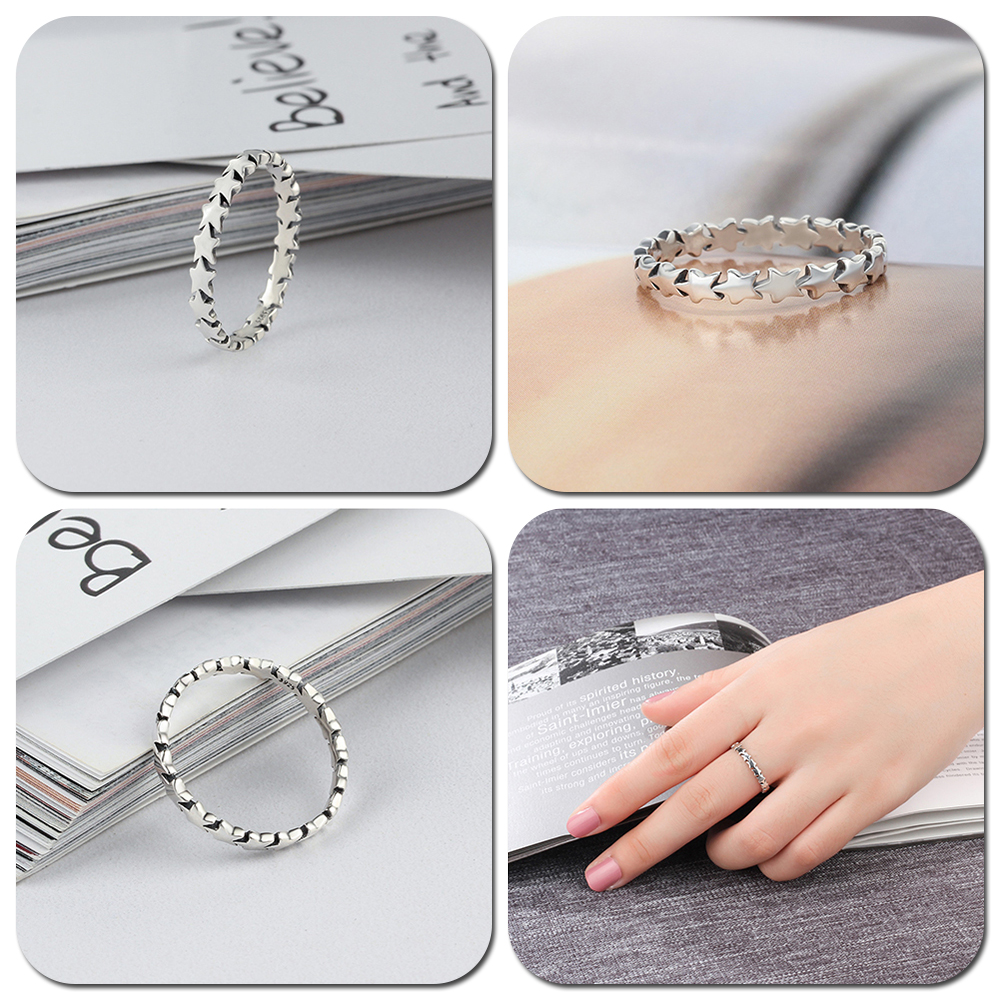 LicLiz 2019 Simple 925 Sterling Silver V Shape Rings for Women Heart Star Leaf Braided Band