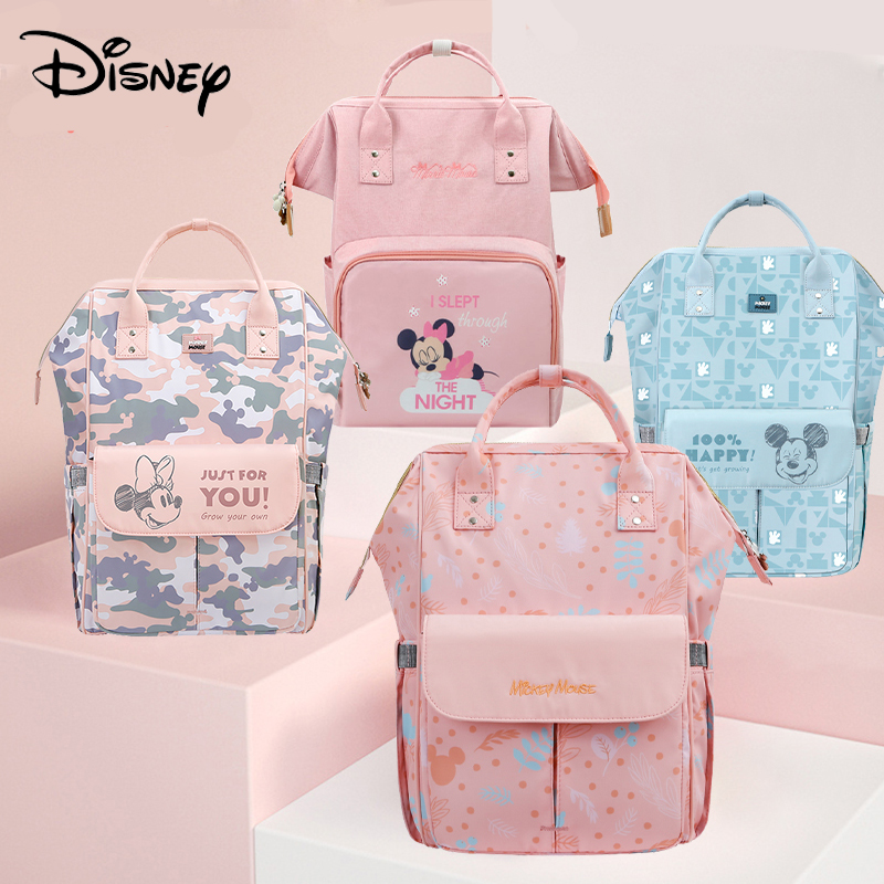 Disney Pink Series Baby Bag USB Diaper Bag Waterproof Mommy Bag Backpack For Travel Maternity Stroller Bag Colorful Large 2020