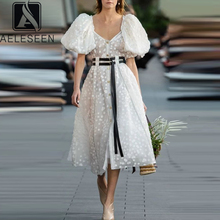 AELESEEN Summer Puff Sleeve Dress 2020 Runway Fashion Women White Dress 3D Dots Slash Neck Midi Party Elegant Long Dress