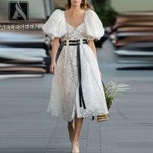Aeleseen 여름 퍼프 슬리브 드레스 2020 활주로 패션 여성 화이트 드레스 3d 점 슬래시 목 미디 파티 우아한 롱 드레스