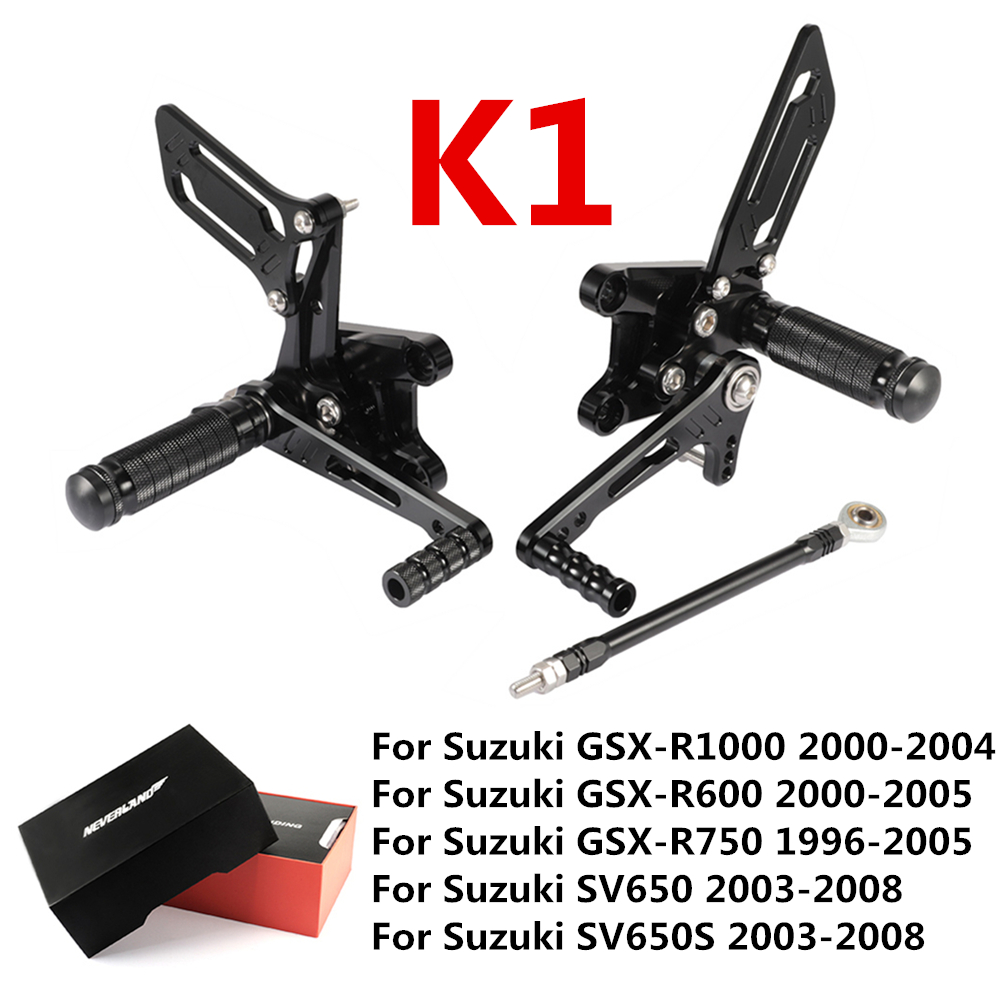 Black Style K1 CNC Motorcycle Footrest Footpegs Foot Peg Pedal Rearset For Suzuki GSX-R1000 GSX-R750 GSX-R600 SV650 SV650S