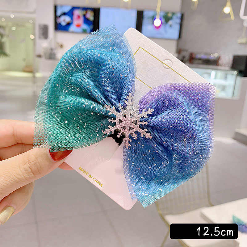 New Christmas Floral Blue Snowflake Hair Scrunchies Crystal Hair Clips for Women Hair Accessories Winter Hair Tie Girls Hairpins