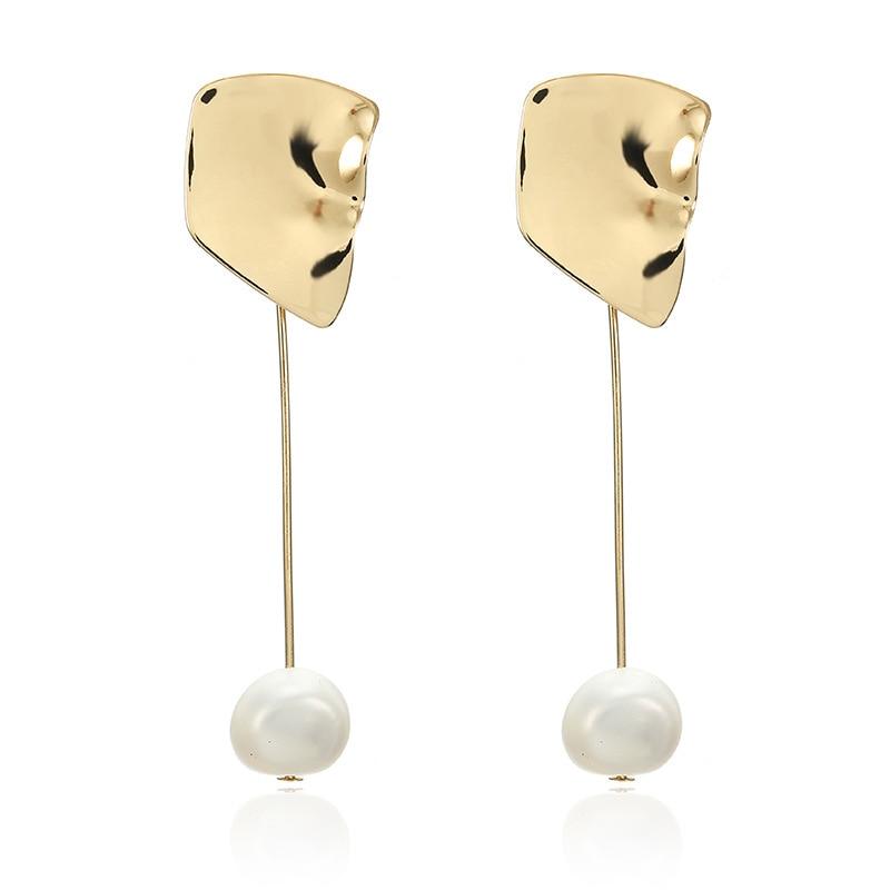 CARTER LISA 2019 New Korean Style Simple Simulated Pearl Earrings Geometric Irregular Square Drop Earring Women Jewelry Brincos